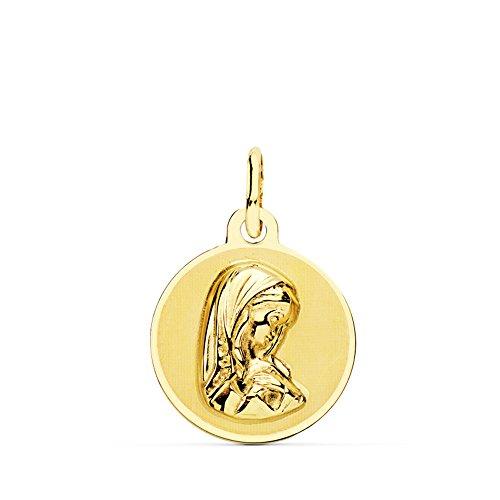 Medalla Virgen Niña Redonda Oro Amarillo 18 Kilates 14mm - Joya Personalizable, Grabado gratuito