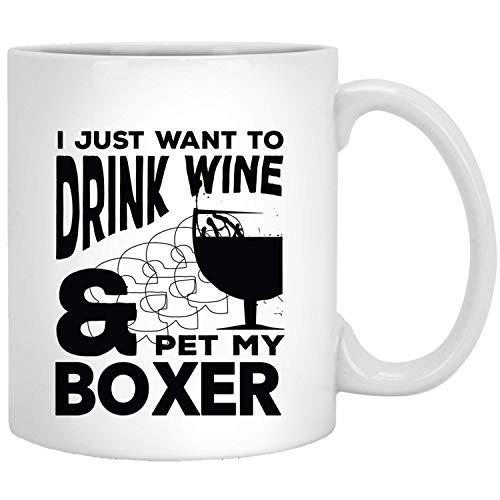 Wijn en boxer png - grappig cadeau-idee voor hond mama papa eigenaar White Mug