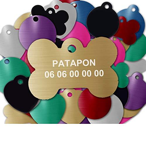 GRAVURE CONCEPT Médaille pour Chien Et Chat À Personnaliser – Médaillon Gravé 31 mm - 1 à 2 Lignes – 8 Couleurs Disponibles (Or, Os)