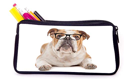 Brown & White English Bulldog Hipster Glasses Pencil Case for School Supplies for Office Supplies, Gameboy DS, MP3, or Makeup Supplies