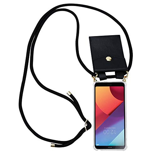 Cadorabo Handy Kette für LG G6 in SCHWARZ – Silikon Necklace Umhänge Hülle mit Gold Ringen, Kordel Band Schnur und abnehmbarem Etui – Schutzhülle