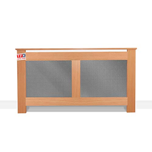 """Oak Wood Radiator Cover with Metal Sheet, 26"""" Tall x 48"""" Wide - Custom Size for Carpenters - TFK-RAD-MDW2"""