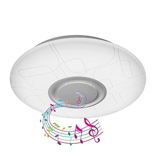 Luz De Techo LED Con Altavoz Bluetooth, Lámpara De Techo RGB Con Control Remoto, Baño IP44 Luces De Techo A Prueba De Agua Para La Cocina Dormitorio Dimmable 3000-6500K,54cm36w