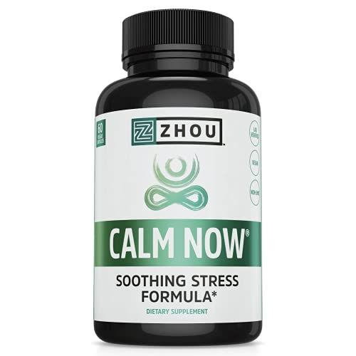 Zhou CALM NOW Soothing Stress Support | Keep Busy Minds Relaxed, Focused & Positive | Supports Serotonin Increase | 60 VegCaps