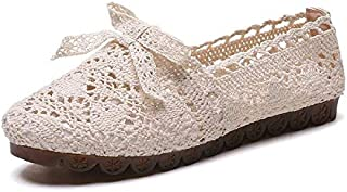 Exquisite New Ladies Flat Shoes Casual Women Shoes Comfortable Round Toe Flat Shoes Spring/Summer Women Shoes (Color : Beige, Shoe Size : 8)