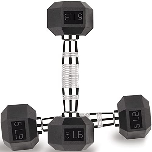 Gymnastics Power - 5 LB Hex Dumbbells Exercise & Fitness Free Weights Dumbbell (5, Pair)