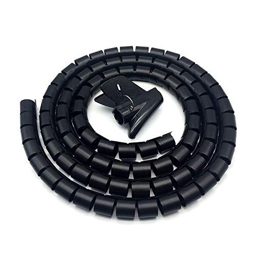 Raccogli Cavi,3 Metri Copricavi Spiralato Guaina per Cavi Automatica Organizzatore Cavi Copri Cavi Elettrici per TV Cavo Muro Computer in Ufficio a Casa ∅87 Nero