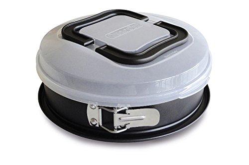 Guardini Bake Away, Tortiera apribile 26cm con coperchio per trasporto, Acciaio con rivestimento antiaderente, Colore nero