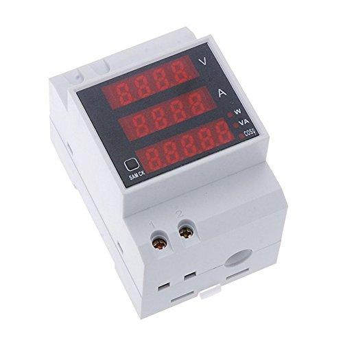 SODIAL(R)Multifunktion Digitalstrom DIN-Hutschiene Versorgung Anzeige Voltmeter Amperemeter Meter weiss