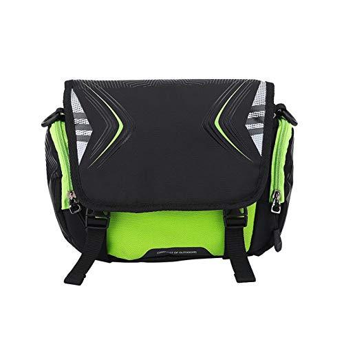 Bolsa para Bicicleta Soporte para Montaje en Manillar de Motocicleta para Bicicleta Accesorio para una Sola Bolsa de Hombro Impermeable(Verde Negro)