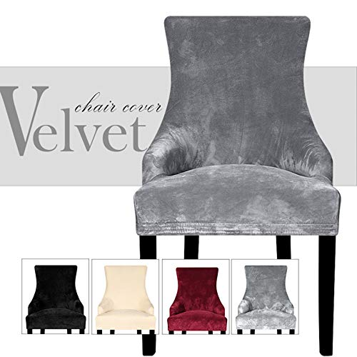Lellen Velvet Stretch Wingback Chair Cover Slipcover - Reusable Arm Chair Protector Cover for Dining Room Banquet Home Decor etc Machine Washable Hand Washable(Set of 2,Charcoal Grey)