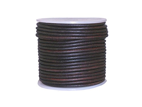 cords craft Round Leather Cord, 1.5 MM Genuine Leather Cord String for Jewelry DIY Crafts, Beading Dark Brown Distressed