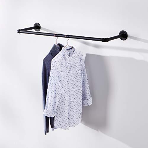 pamo Kleiderstange Handtuchhalter im vintage Industrial Design – Kleiderständer Handtuchhaken für Wand oder Deckenmontage schwarz aus Wasserrohre