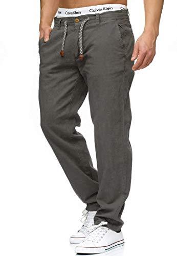 Indicode Herren Boulware Stoffhose aus Leinen & Baumwolle mit 4 Taschen | Lange Regular Fit Hose Herrenhose Baumwollhose Tunnelzug mit Kordel Leinenhose Freizeithose für Männer Iron 3XL