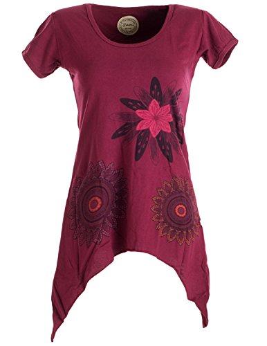 Vishes - Alternative Bekleidung - Asymmetrisch geschnittenes Longshirt, Elfen Tunika mit großen Blumen Bedruckt dunkelrot 44