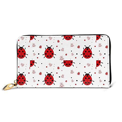 Ladybug - Monedero grande con múltiples ranuras para tarjetas de piel, cartera larga de embrague para mujer