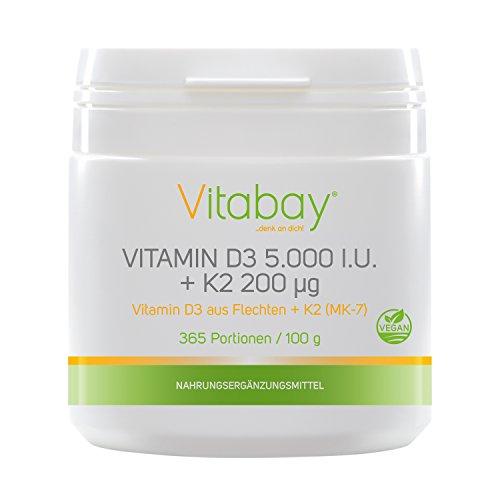 Vitamin D3 5.000 I.E. + Vitamin K2 200 µg - 99,99% trans-form - Cis-Anteil 0% - 100 g veganes Pulver