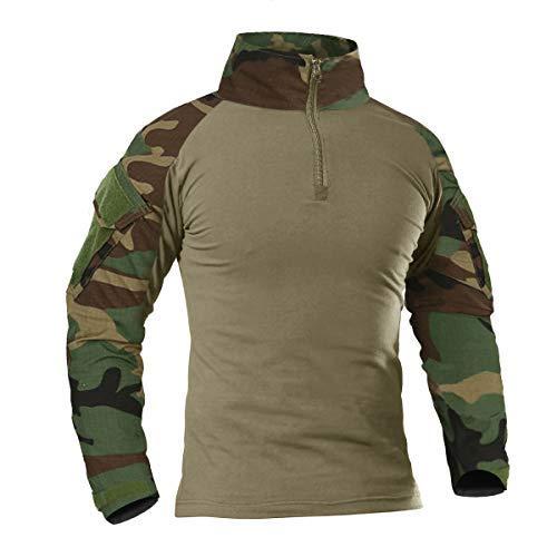 KEFITEVD Herren Combat Shirt Flecktarn US Army Shirt Military Uniform Multicam T-Shirt Bundeswehr Long Sleeve Stehkragen Kampfhemd Outdoor Hemd Männer Dschungel S