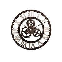 壁掛け時計レトロギア工業用ロフトMDF時計バー、リビングルーム、寝室、オフィス(16インチ、28インチ)(色:ゴールド、サイズ:16インチ)