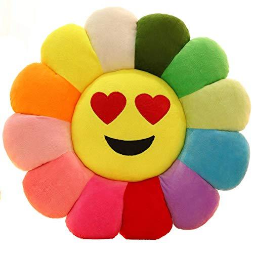 Emoji Stuhlsitz Kissen,lächeln Blume Geformt Werfen Kissen Sonnenblume Pad Weich Spielzeug Sofa Boden Kissen Für Mädchen Lesen Bett Zimmer Dekoration-j Durchmesser:45cm(18inch)