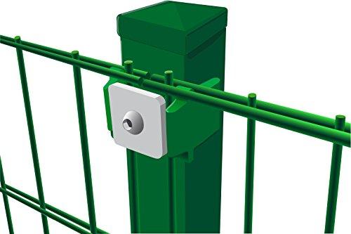 Komplettset Doppelstabmattenzaun, 10 m x 123 cm (B x H) in grün (Maschung 200x50 cm), inkl. Pfosten und Montagematerial - alles, was Sie zum Auftstellen des Zaunes benötigen