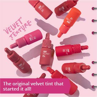 Peripera Ink the Velvet Lip Tint | High Pigment Color, Longwear, Weightless, Not Animal Tested, Gluten-Free, Paraben-Free | Red Only (#03), 0.14 fl oz