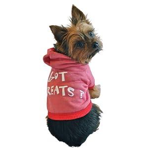 Ruff Ruff and Meow Dog Hoodie, Got Treats?, Red, Medium