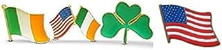 4-Piece Irish & American Flag & Shamrock Lapel or Hat Pin & Tie Tack Set with Clutch Back by Novel Merk,Green,Medium