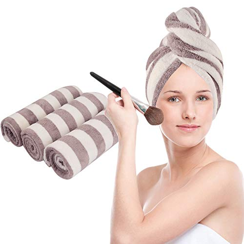 VIVOTE Microfiber Hair Towel Turban Wrap, Hair Fast Drying Hat, Hair Dry Cap, Head Turban, Super Absorbent, Soft, Lightweight, Anti Frizz, Women Girls Gift 10 x 25.5 Inch, 3 Pack(Purple)