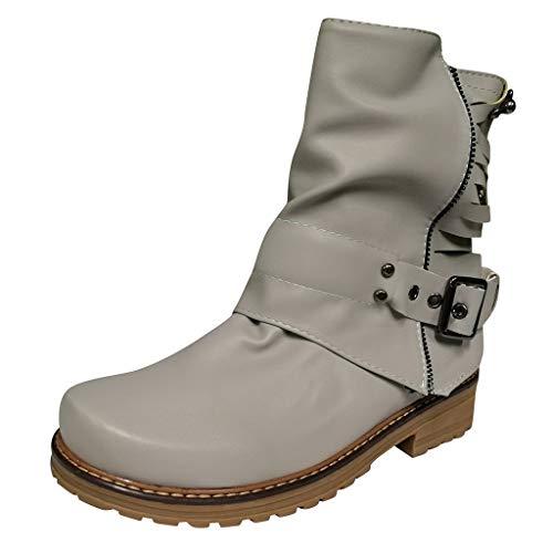 Vovotrade Dameslaarzen met korte schacht en blokhak, chunky Heel Biker Boots ridderlaarzen met nieten