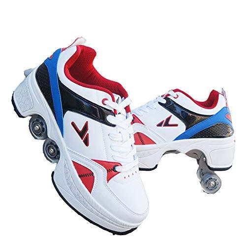 Unisexe Skates Deformation Schuhe,Inline-Skate, 2-in-1-Mehrzweckschuhe, Verstellbare Quad-Rollschuh-Stiefel,D-34