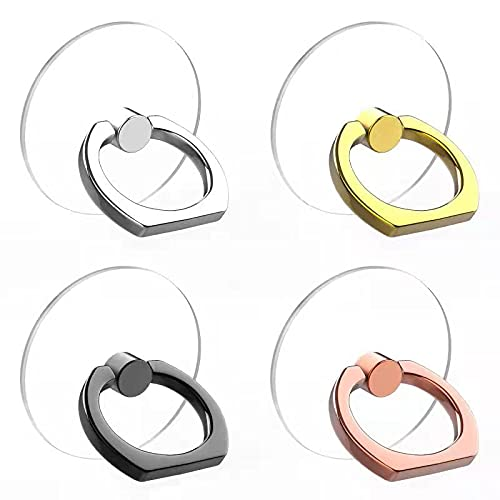 Vesmatity Cell Phone Ring Holder Stand 4 Pack Transparent Phone Ring Holder Universal 360° Degree Rotation Clear Finger Grip Ring Kickstand Compatible Various Mobile Phones or Phone case