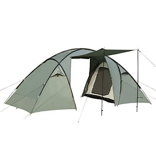 Outsunny Tienda de Campaña para 3-4 Personas Impermeable 2000mm Tienda Iglú Familiar Portátil con 2 Puertas para Camping Senderismo Acampada 480x220x190 cm Verde