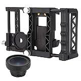 Goshyda Kaninchenkäfig-Set für Mobile Fotografie, Handy-Spiegelreflexkamera-Halterungsset Weitwinkel-Makro 2 in 1-Objektiv-Kaninchenkäfig-Stabilisator mit Objektiv für Mobiltelefon