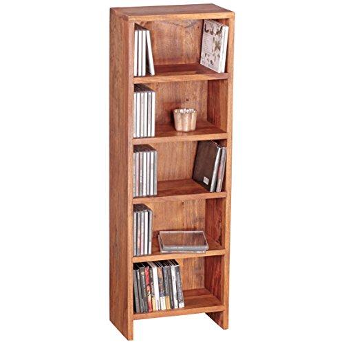 WOHNLING CD rek massief hout Sheesham staand rek 90 cm hoog CD-opslag 5 Föcher boekenkast donkerbruin landhuisstijl design kantoorplank vrijstaand 4 planken 30 cm breed echt hout natuurproduct