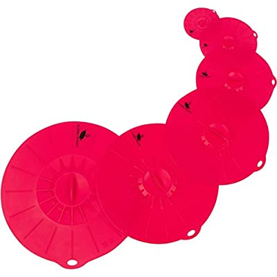 Silicone Suction Lids, Grey / Red