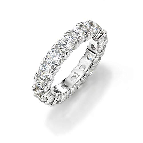 NYC Sterling 4mm Sterling Silver 925 Cubic Zirconia Cz Eternity Engagement Wedding Band Ring (5)