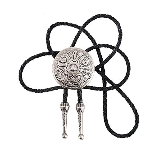 JrenBox Sombrero de vaquero Western Bolo Tie Colgante Collar Danza Rodeo Bola Bolo Lazo Metal para Mujeres Cowboy Cuero Corbata de Hombre Collar Joyería (Color: Gris)