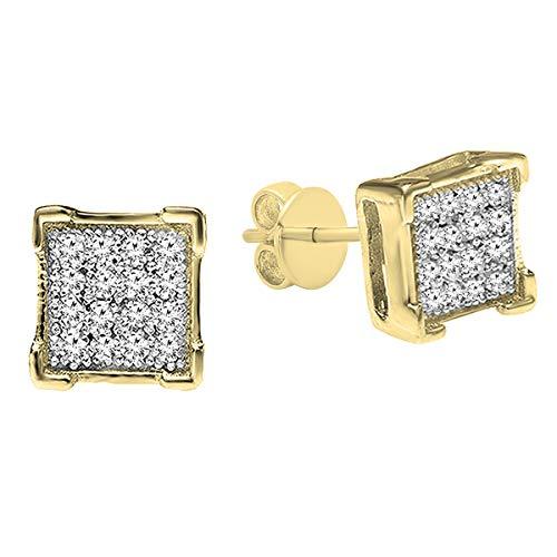 DazzlingRock Collection plata de ley 925 plata chapada en oro amarillo redonda I-J diamante blanco