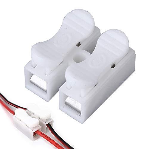 KKTICK Kabel Verbindungsklemme, 100 Stück 2-Pin Schnellverbinder Kabel Lüsterklemme Feder-Schnellanschlussblock-Anschlussblock 10A, für Beleuchtung Energie und Fahrzeugverkabelung Connection (CH-2)