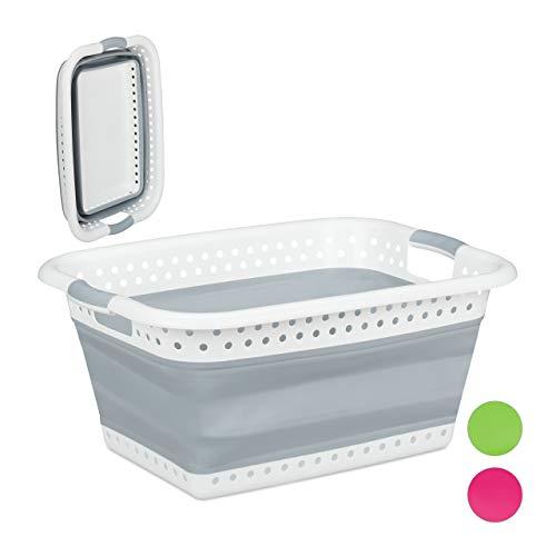 Relaxdays Faltbarer Wäschekorb, Griffe, Kunststoff & Silikon, platzsparende Wäschewanne, stabil, HBT 27x61x45,5 cm, grau