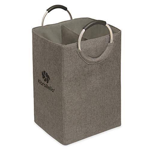 Klarabella® vikbar tvättkorg 60 l 2 tvättfack praktiska handtag för badrum sovrum barnrum L/B/H: 36 x 30 x 56 cm 100 % polyester