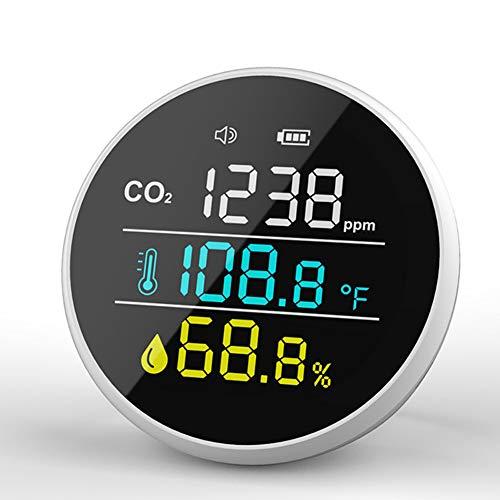 CO2 Messgerät KKmoon Intelligenter CO2-Temperatur-Feuchtigkeits-Detektor mit Alarm Luftqualitätsdetektor Raumluft Indoor Outdoor Hohe Präzision Luftqualitätsmonitor mit Akku