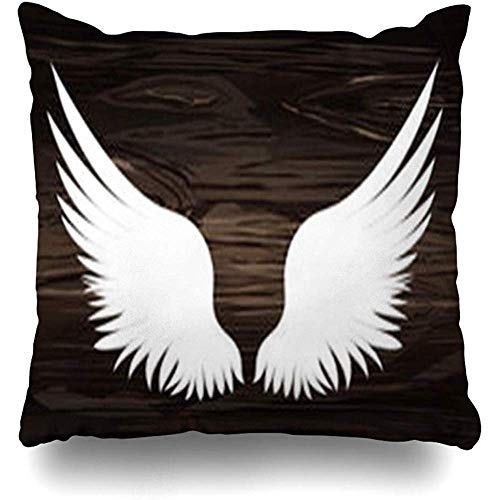 Throw Pillow Cover Pair Brown Angel Wings On Wooden Black White Feather Wildlife Abstract Bird Creative Curve Desk Dove Decorative Pillowcase Square 18 x 18 Inches Sofa Decorative Cushion Cases