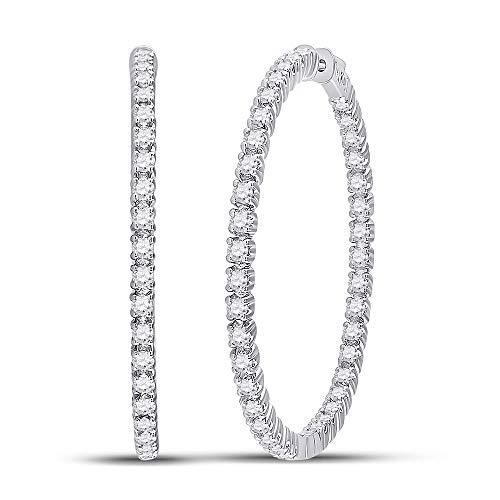 Diamond Hoop Earrings 14kt White Gold Womens Round 5-1/4 Cttw