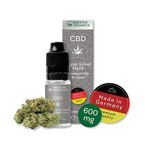Premium CBD Liquid Super Silver Haze von Breathe Organics® | E Liquid ohne Nikotin mit 600 mg CBD | 100{f7f1333c49d1f9b21ee68d20c494444e5fba6ab56649dd5262c29718a89ae83d} natürliche Terpene | Cannabidiol Liquid