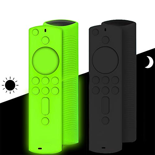 2 PCs Firestick Remote Cover, Glow in The Dark Firetv Remote Case for The 2nd & 3rd Generation of Firetv 4K, Protective Silicone Shockproof Soft Washable Remote Cover Case - Green+Black