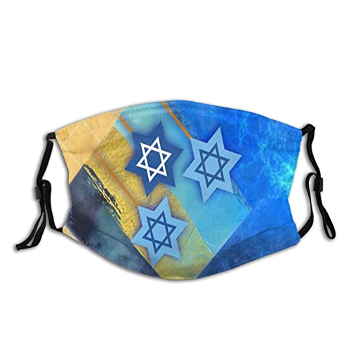 PIECERY Hanukkah Vibes Face Mask Balaclava Fashion, Washable Jewish Masks Reusable Fabric Cloth Masks Headband with 2 Filters for Adult Dust Outdoor