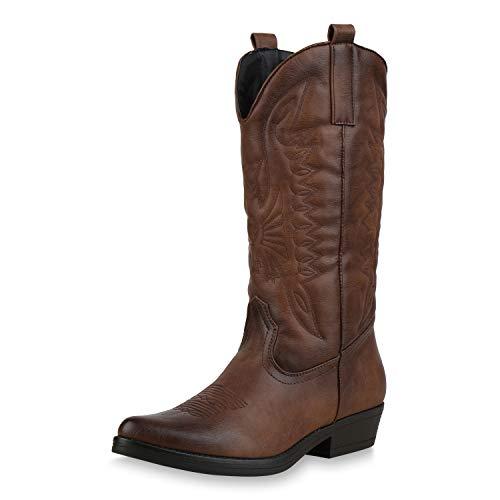 SCARPE VITA Damen Cowboystiefel Stickereien Western Stiefel Cowboy Boots 173419 Braun 36