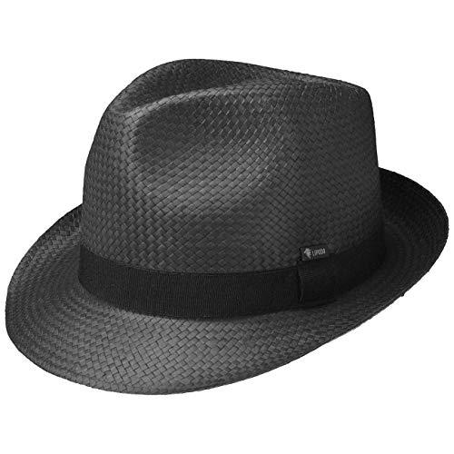 Lipodo Black City Trilby Strohhut (Papierstroh) Damen/Herren - Sonnenhut Made in Italy - Hut mit Ripsband - Frühjahr/Sommer schwarz L (58-59 cm)
